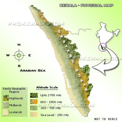 Kerala Physical Map