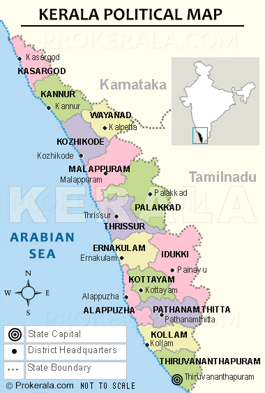 Kerala Political Map, Kerala Districts