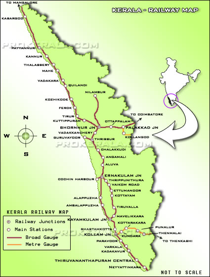 Kerala Railway Map, Railway Stations in Kerala