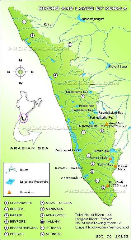 Kerala Rivers, Lakes and Backwaters   Kerala River Map ...