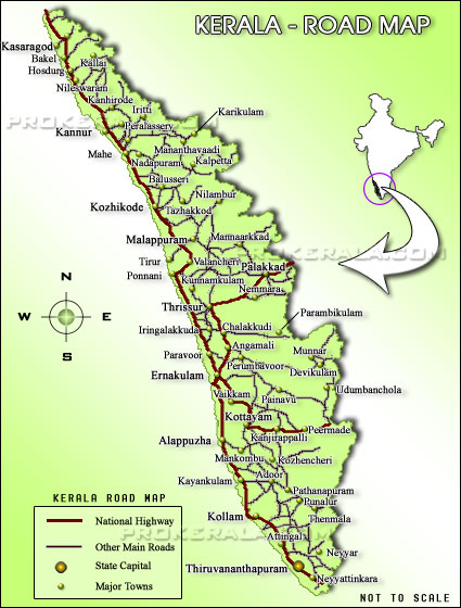 Kerala Distance Map : Click to open a Kerala Map showing road distance