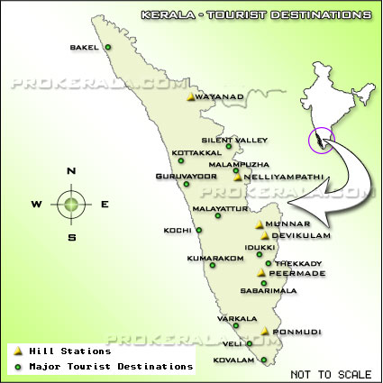 Kerala Tourism Map - Tourist Map of Kerala, Kerala Tourism, Backwaters of Kerala, Hill stations and other Tourist destinations in Kerala