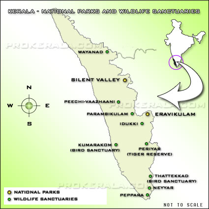 Kerala Wildlife Map