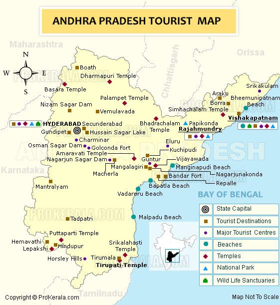 Tourism Map of Andhra Pradesh