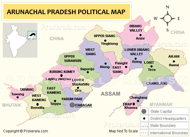 Arunachal Pradesh Map Of Arunachal Pradesh India District Map - China map states cities map