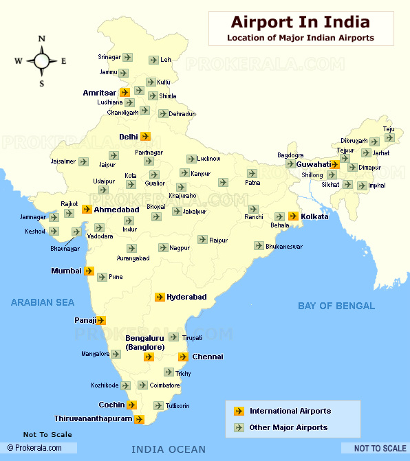 India Airport Map Indian Airports India Airports Location Map - Us map of major airports