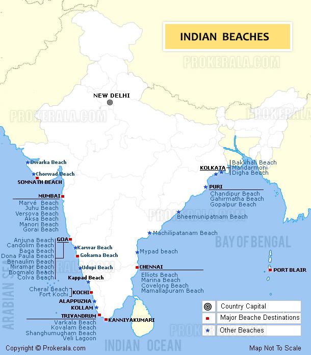 India Beaches map