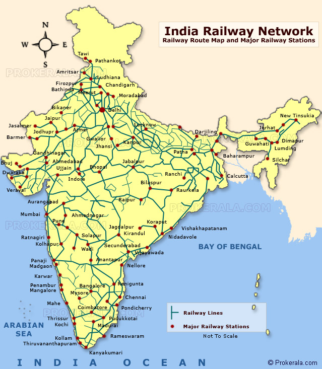 Rail Route Map India Railway Map, Map of India Railway Network & Railway