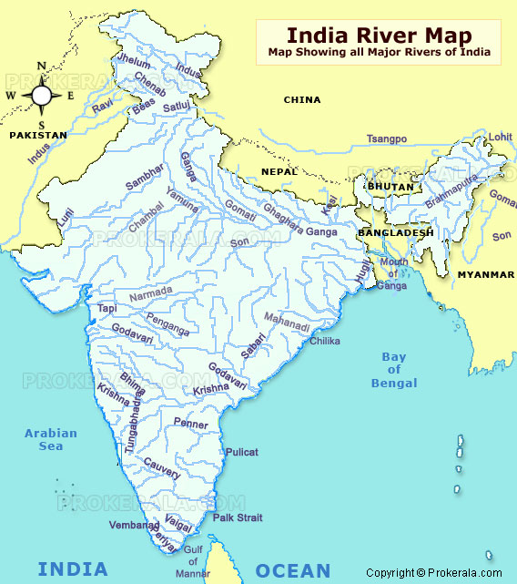 India River Map  Famous Rivers of India Map  River Map of India