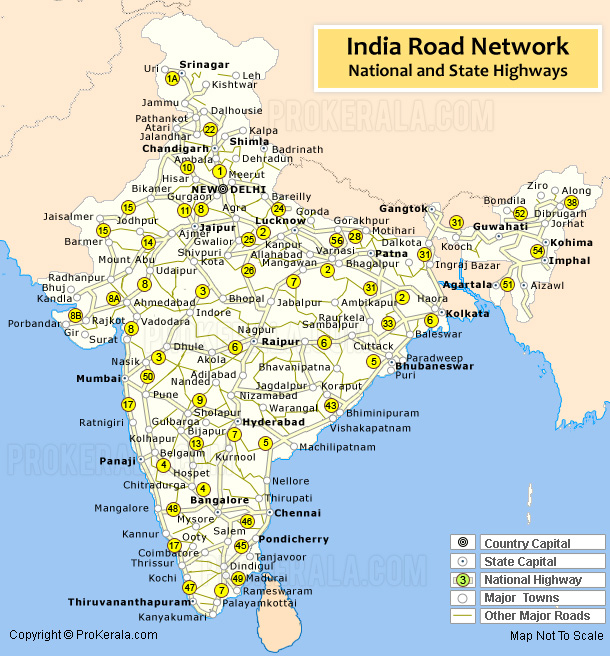 India Road Map | India Road Network | Road Map of India with ...