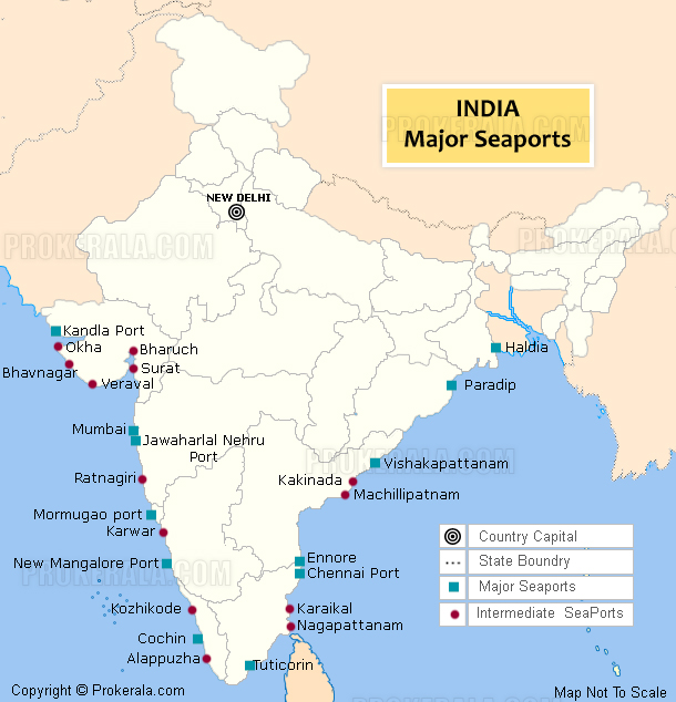 India sea port map sea ports in india with location major and intermediate sea ports in india gumiabroncs Images