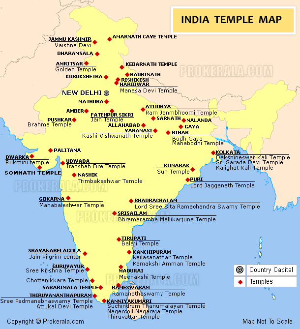 Temples in India – Tourist Attractions Map In India