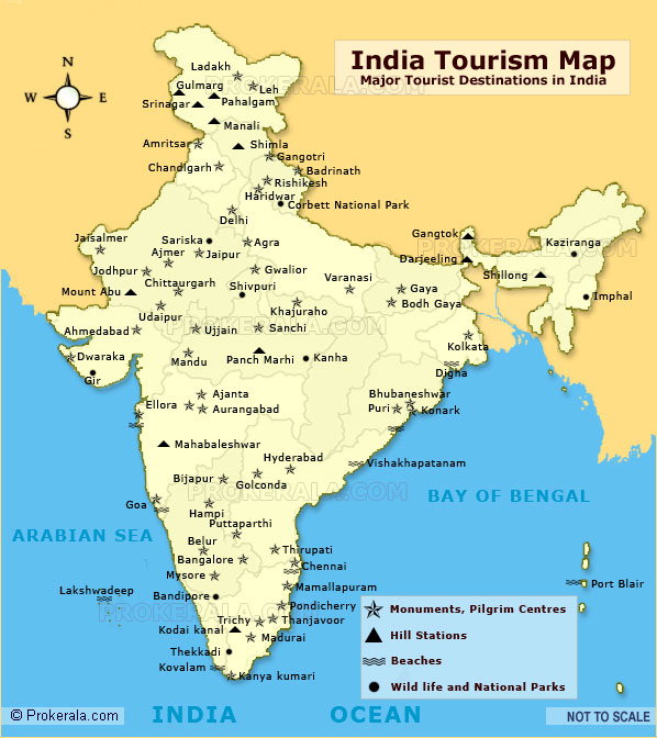 India Tourist Map, Tourist Places in India