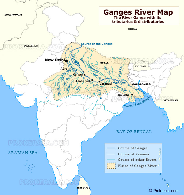 The Ganges or Ganga River - Map of Ganga - Ganges Map with Course