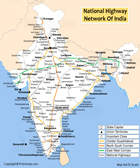 National highways network in India