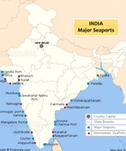 Sea ports map of India