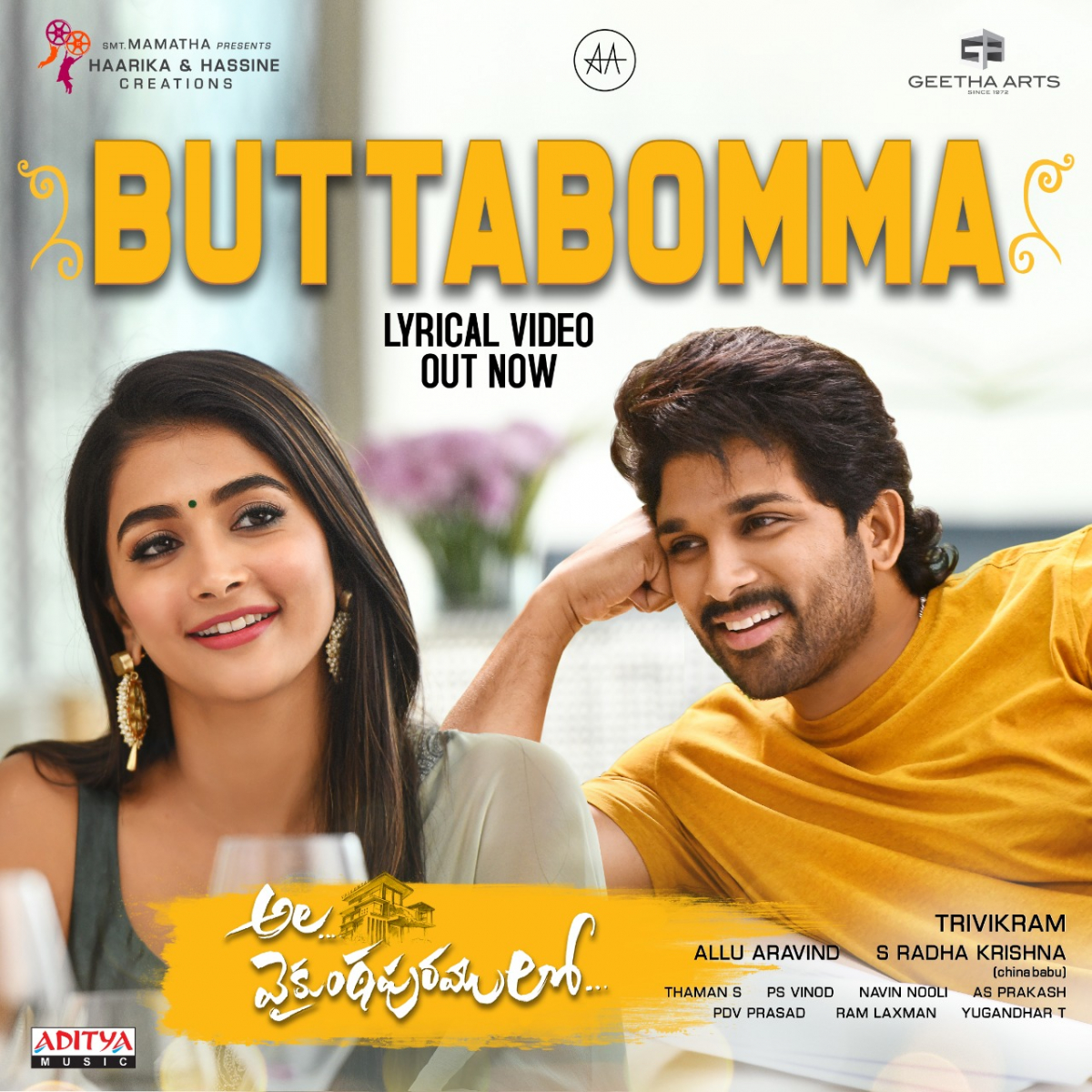 'Butta Bomma' song from Allu Arjun's Ala Vaikunthapurramuloo Poster.