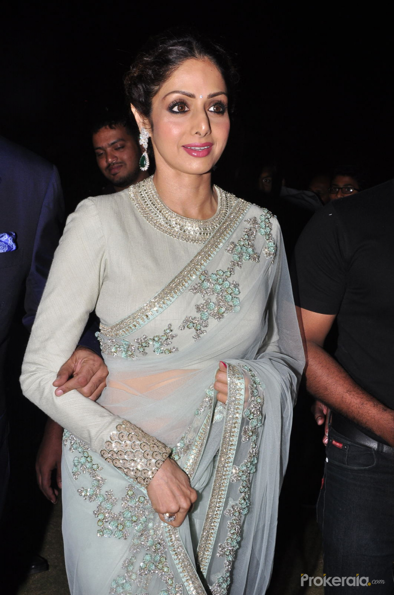 Sridevi in a breathtaking sheer slate grey saree with thread embroidery