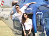 Tiger Shroff  and Disha Patani Arrive In Chopper At Mahalaxmi Racecourse