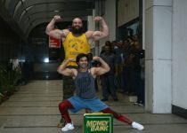 Varun Dhawan with WWE Superstar Braun Strowma