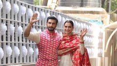 Newly weds Deepika Padukone and Ranveer Singh are back home