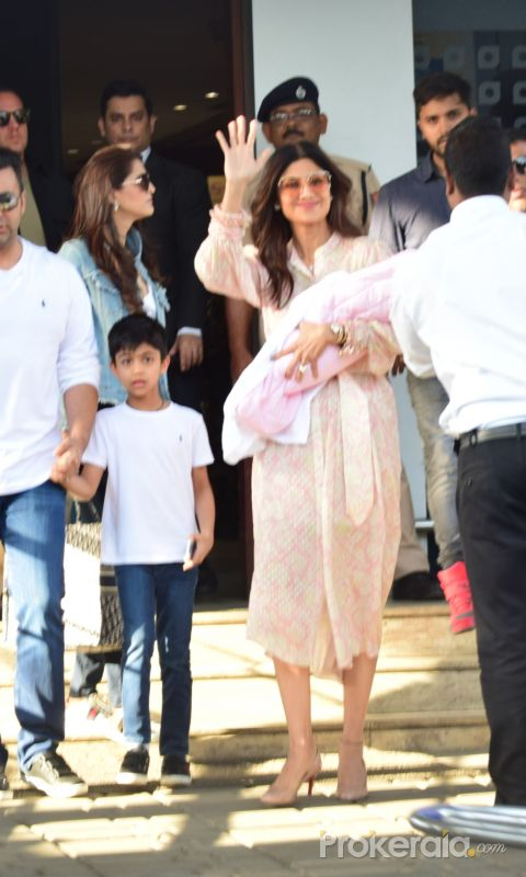 Actress Shilpa Shetty with family seen at airport