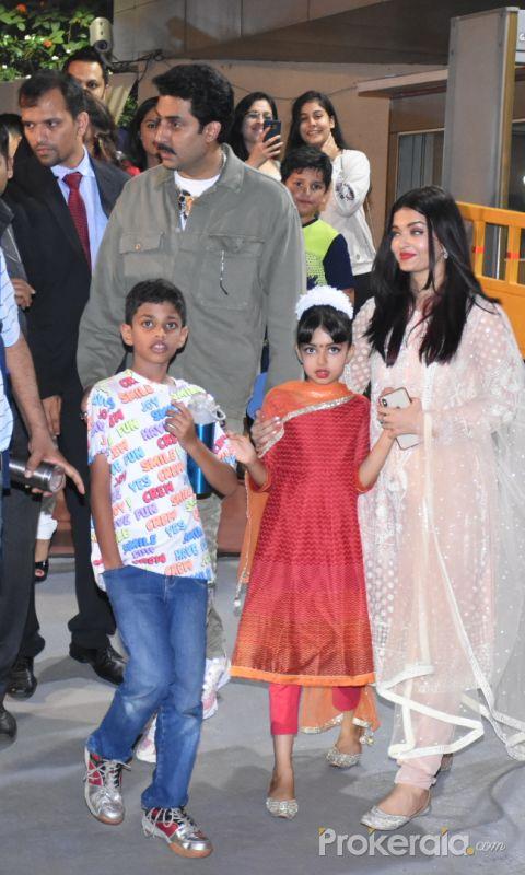 Actor Abhishek Bachchan and family at the annual day function of Dhirubhai Ambani International School.