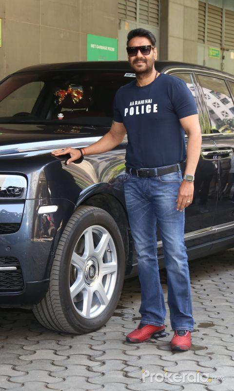 Actor Ajay Devgan arrived for Trailer launch of film Sooryavanshi at pvr icon in andheri