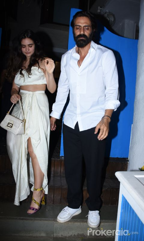 Actor Arjun Rampal and Gabriella DemetriadesKim Sharma's birthday party at olive bandra.