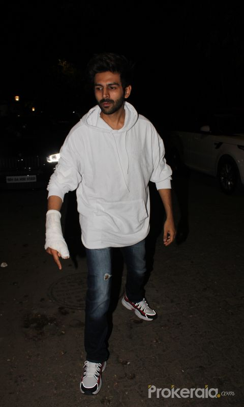 Actor Kartik Aaryan attend screening of film Angrezi Medium at sunny sound juhu