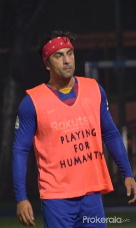 Actor  Ranbir Kapoor Playing football at juhu.