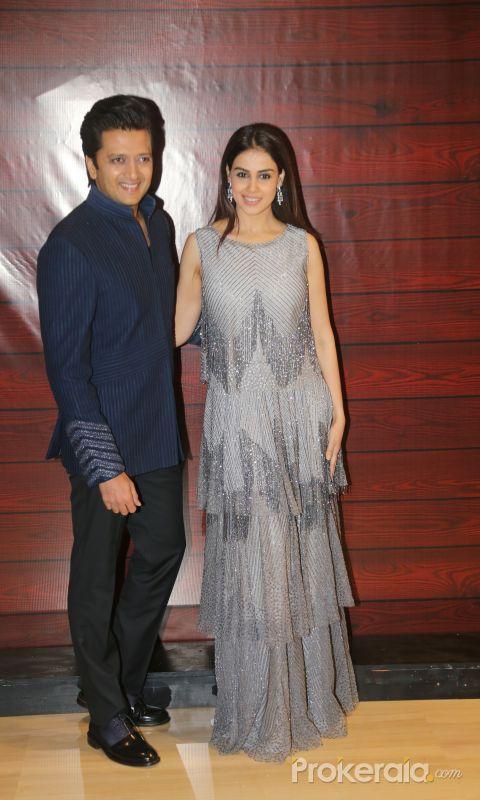 Actor Ritesh Deshmukh and Genelia D Souza  at Javed Akhtar's Birthday.