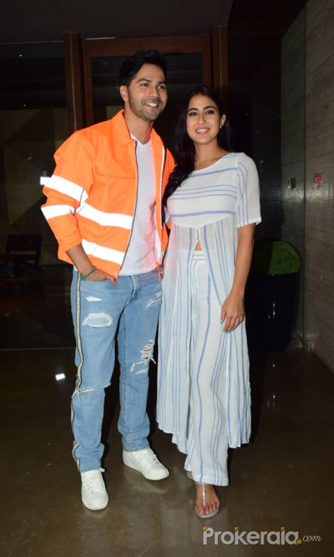 Actor Varun Dhavan and Sara Ali Khan attend Coolie No 1 wrapup party at Jacky Bhagnani's house in juhu