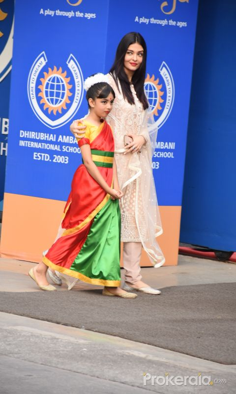 Actress Aishwarya Rai and daughter at the annual day function of Dhirubhai Ambani International School.