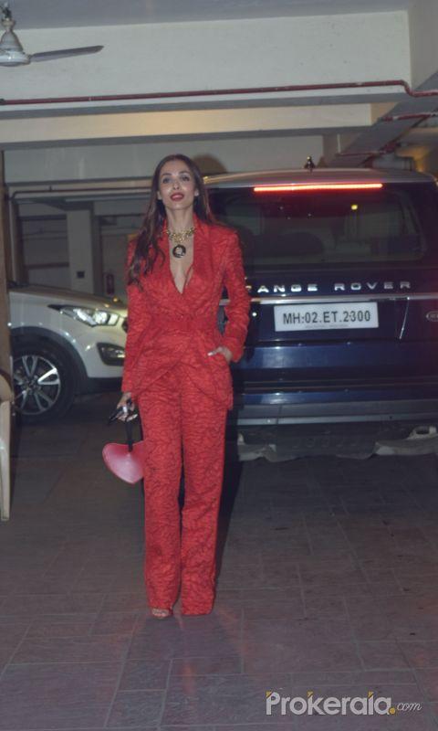 Actress Malaika Arora in  Kareena Kapoor's Christmas party at bandra .