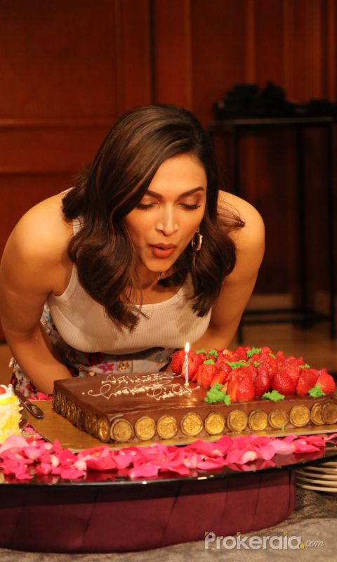 Actress Deepika Padukone celebrates her birthday in advance with Media.