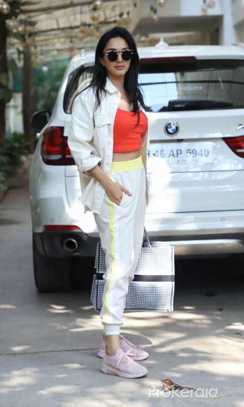 Actress Kiara Advani seen at dubbing studio in juhu