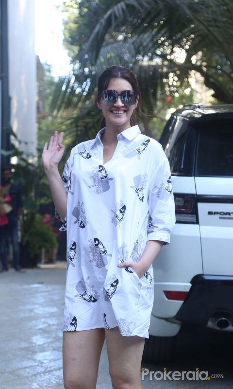 Actress Kriti Sanon seen at maddock office in santacruz.