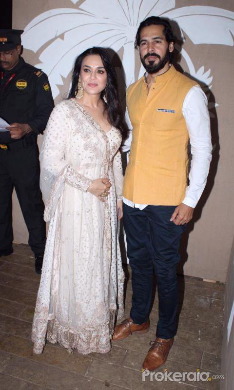 Preity Zinta and  Dino Morea at actor Amitabh Bachchan's Diwali party