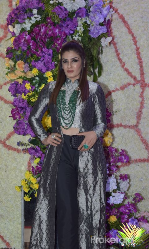Actress Raveena Tandon in Sooraj Barjatya's son Devansh wedding reception at Marriott Juhu.