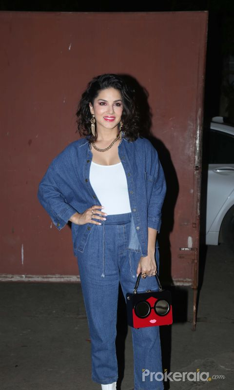 Actress Sunny Leone at Screening of film Ave Maria.