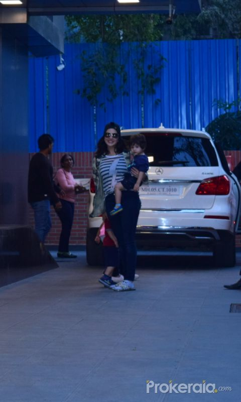 Actress Sunny Leone with kids seen at juhu