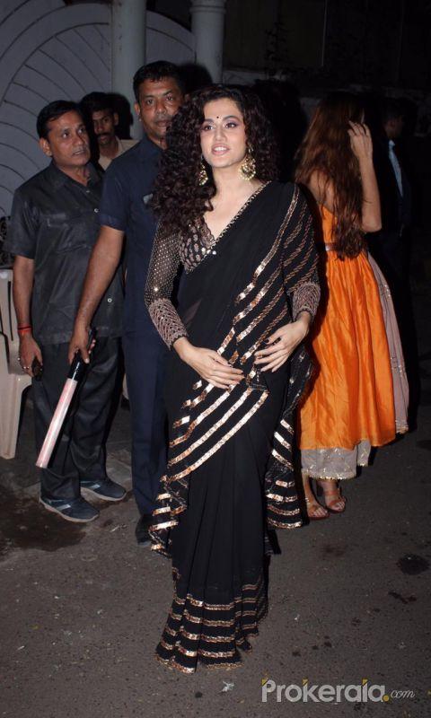 Actress Taapsee Pannu at actor Amitabh Bachchan's Diwali party