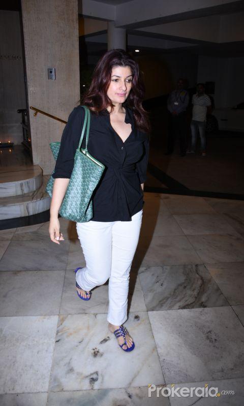 Actress Twinkle Khanna seen at Manish Malhotra's house in bandra.
