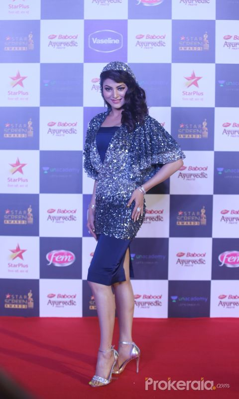 actress Urvashi Rautela  in Star Screen Awards at BKC.