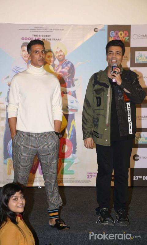 Akshay Kumar and Karan Johar Attend Trailer launch of New Film Good Newwz at Cinepolis