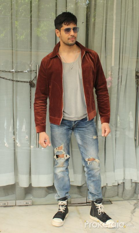 Actor Sidharth Malhotra spotted promoting his film Marjaavaan