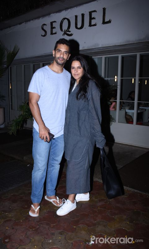 Neha Dhupia and Angad Bedi spotted at Sequel in bandra