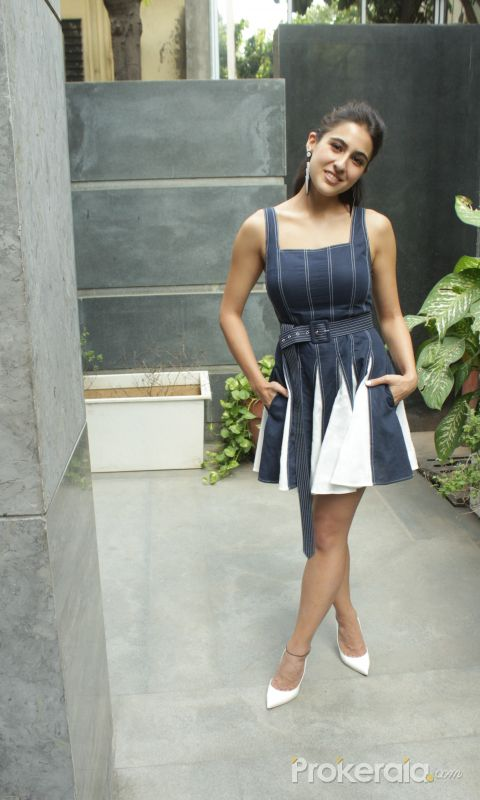 Sara Ali Khan @ Promotion of film coolie no 1 at pooja films office in juhu