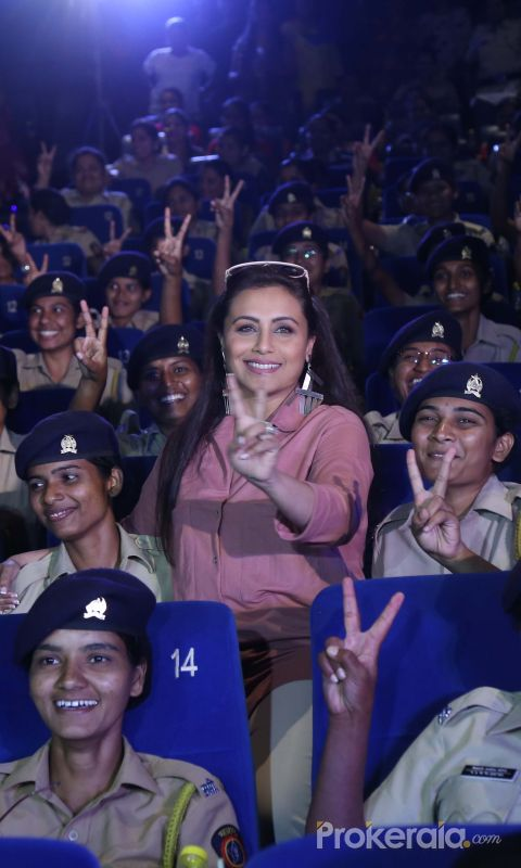 Actress Rani Mukherji hosts the screening of her film Mardani 2 for female police of mumbai